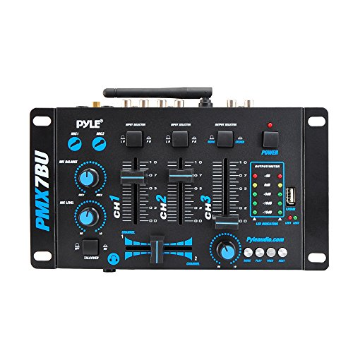 Pyle PMX7BU Bluetooth 3-Channel DJ MP3, Mic-Talkover, USB Flash Reader, Dual RCA & Microphone Inputs, Headphone Jack