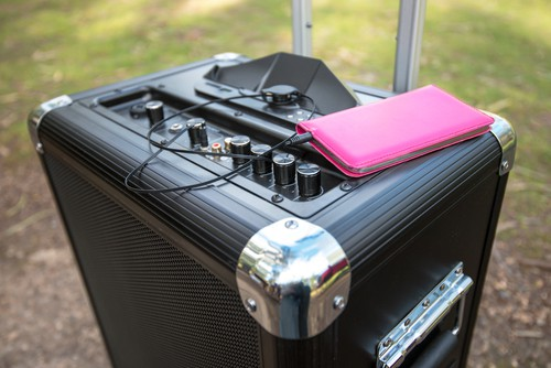 Portable pa system connected to phone